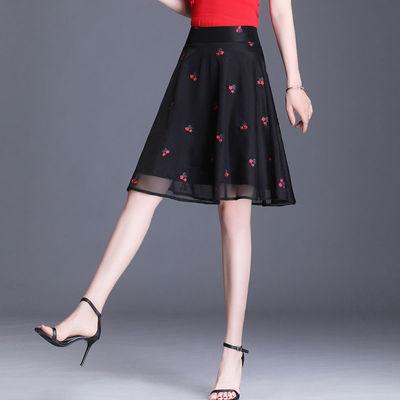 ins裙子新款欧根纱a字百褶半身裙女夏高腰短裙蓬蓬裙短款网纱中裙
