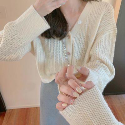 韩版2020春秋新款纯色薄款宽松V领显瘦毛衣女针织衫短款开衫外套