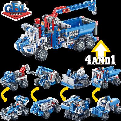 教学齿轮积木益智拼装工具车汽车工程车齿轮机械原理早教人气玩具