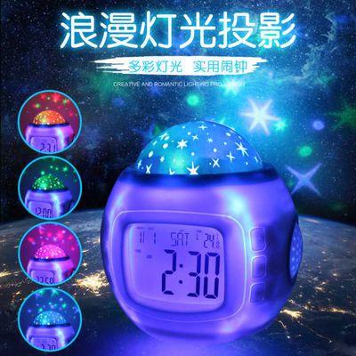 【送3节电池】投影闹钟学生静音电子床头闹钟创意夜光 音乐星空钟