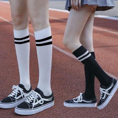 小腿袜女夏季薄款压力显瘦及膝袜纯棉条纹长筒袜学院风运动长袜子