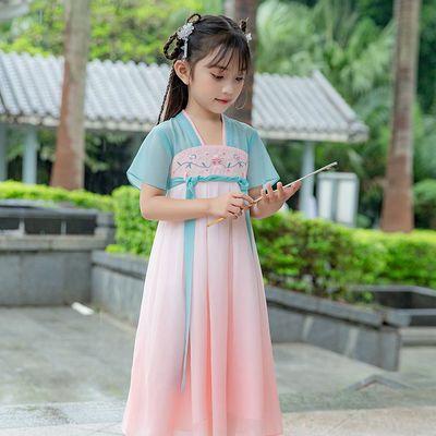 38672/女童汉服超仙古装裙子夏季雪纺连衣裙童装儿童宝宝襦裙公主中国风