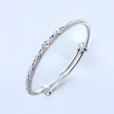 镀银手镯女光镀银手链开口手镯送女友儿童生日时尚简约百搭礼物
