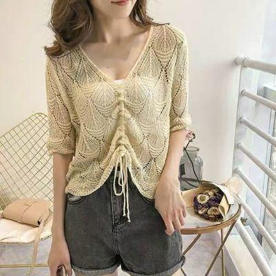 2020夏季新款韩版短款宽松抽绳镂空针织衫套头罩衫短袖薄款毛衣女