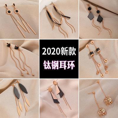 长款黑色钛钢耳环时尚气质韩国网红流苏耳坠2020新款主播同款耳环