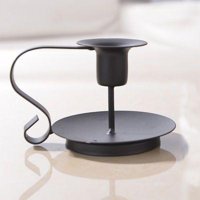 欧式复古烛台铁艺烤漆黑色蜡烛台金属工艺品居家居家摆件摄影道具