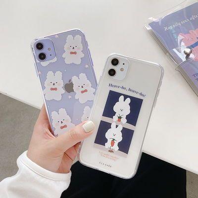 可爱兔子华为nova6手机壳透明5pro/5i/4e荣耀9x/20苹果11/7plus女