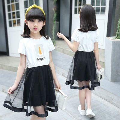 大女童休闲夏装韩版裙子中童女装小学生女生白衣黑裙假两件连衣裙