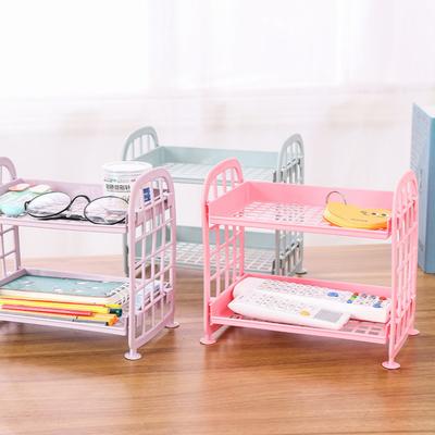 ins风少女心置物架粉色学生宿舍双层镂空小书架桌面化妆品收纳架