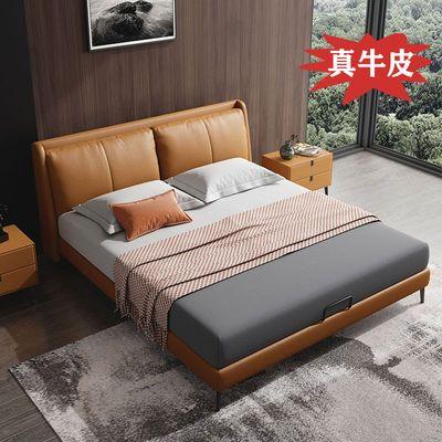 意式极简真皮床1.8米主卧双人床现代简约1.5米北欧软床储物箱婚床