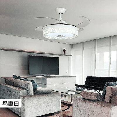 吊扇灯客厅 隐形风扇灯卧室餐厅现代简约家用带LED的伸缩风扇吊灯
