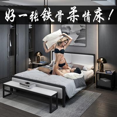 现代简约轻奢铁艺床北欧主卧双人床极简单人床大公寓实木纹铁架床