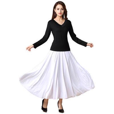 春夏广场舞服装套装长裙交谊舞大摆半身裙子舞蹈服套装女成人新款