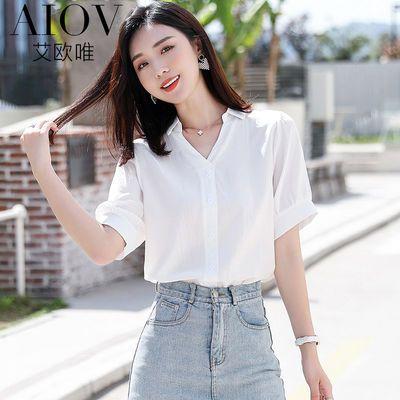 35246/艾欧唯雪纺衬衫女韩版职业装上衣夏装新款v领短袖白色衬衣女
