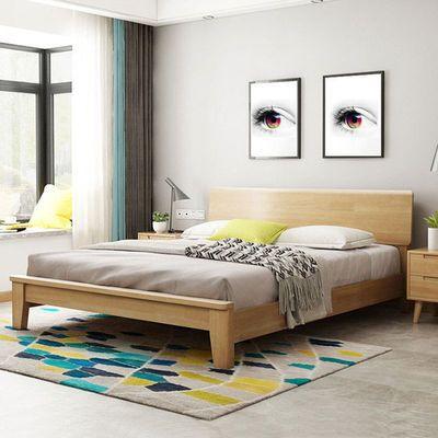 北欧实木床 简约 现代床架 双人床婚床实木单人