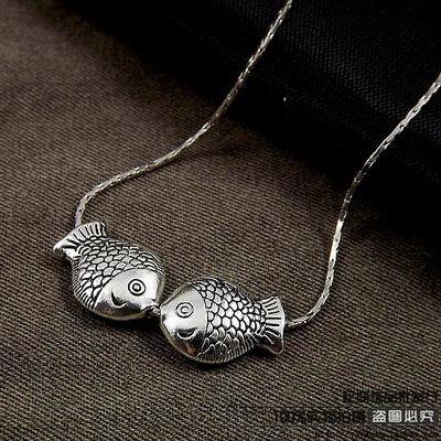复古韩国饰品民族风藏银吊坠手工对小鱼细项链女短款锁骨链简约