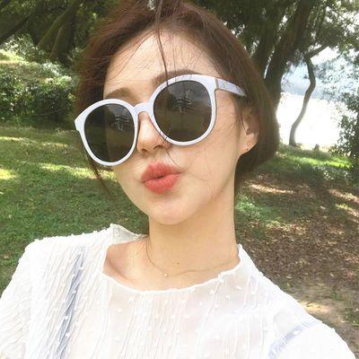 时尚韩版复古V牌白色墨镜网红同款太阳镜男女大框圆形百搭街拍潮