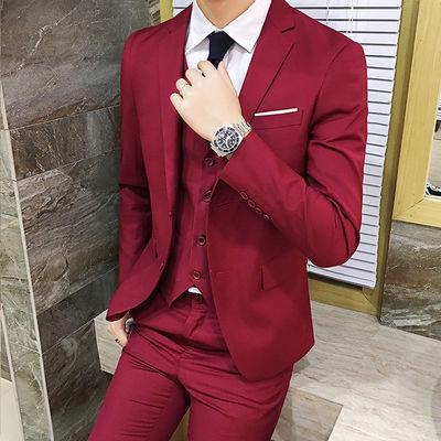 西服套装男士三件套商务正装职业小西装修身韩版伴郎新郎结婚礼服
