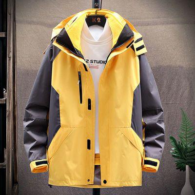 潮牌户外冲锋衣男三合一两件套冬季加绒加厚防风防水透气登山服