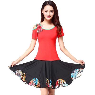 2020广场舞服装新款套装夏季短袖短裙子杨丽萍跳舞蹈的衣服成人女