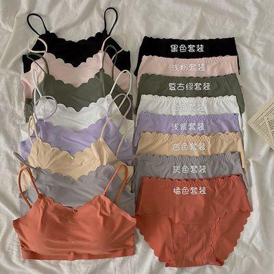 39649/冰丝文胸套装女夏2021新款少女花边纯色无痕小胸内衣+内裤两件套