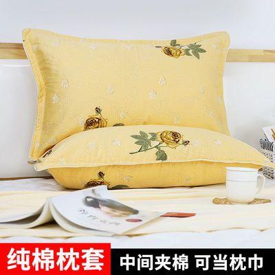 纯棉全棉夹棉枕巾枕头套拉链式单人加厚保暖枕套枕罩一对74/48cm
