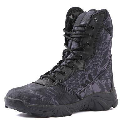 热销春夏防滑耐磨蟒纹迷彩军靴战术靴作战靴特种兵沙漠靴男高帮登