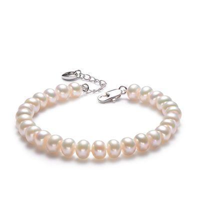【热卖】正品天然珍珠手链7-8MM扁圆白色淡水珍珠简约送妈妈女友