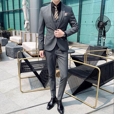 西服男士套装商务正装时尚英伦风小西装三件套青年新郎结婚礼服男