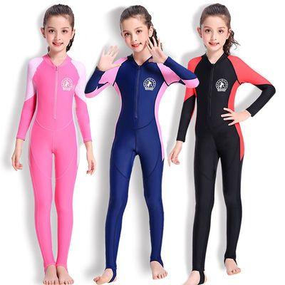 25925/大女孩儿童体泳衣夏天防晒连中小学生运动长袖踩脚泳装游泳训练服