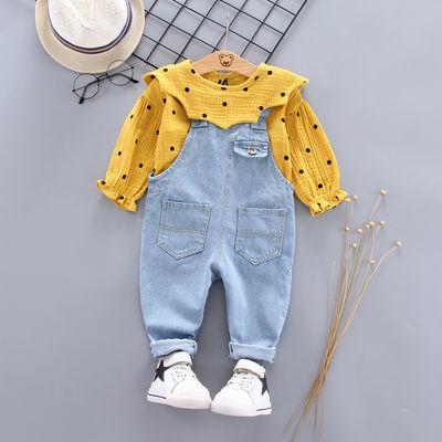 女宝宝秋装长袖套装2020新款韩版儿童秋季洋气牛仔背带裤两件套装