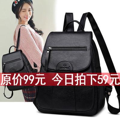 袋鼠真皮质感双肩包女韩版2019新款大容量背包百搭包包妈妈旅行包