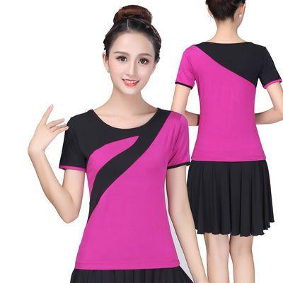 广场舞服装套装新款跳舞衣服夏季莫代尔舞蹈短袖上衣演出服成人女