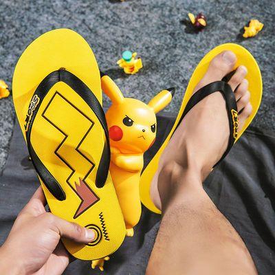 皮卡丘拖鞋男夏季夹脚人字拖个性潮流男士外穿休闲沙滩鞋学生凉鞋