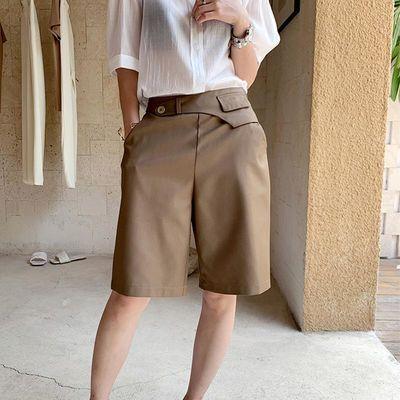 夏2020新款卡其色五分西装短裤女高腰宽松休闲中裤直筒薄款工装裤