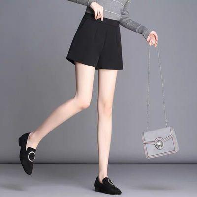 黑色高腰短裤女夏2019新款修身外穿西装宽松雪纺阔腿a字热裤白色