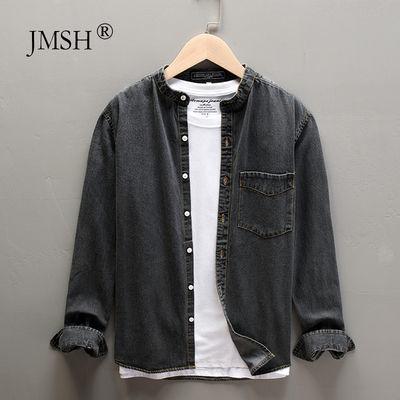 JMSH立领基础休闲长袖牛仔衬衫男士秋季复古宽松青年纯棉衬衣外套
