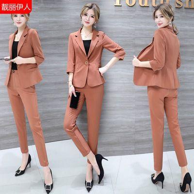 职业小西装套装女2020年秋季新款时尚韩版洋气质初秋小香风两件套