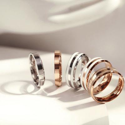 批发时尚首饰滴胶戒指钛钢戒指男女款玫瑰金百搭指环饰品一件代发