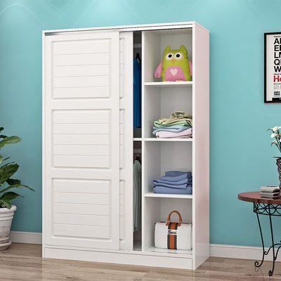 衣柜简约现代家用卧室推拉门实木衣橱出租房简易移门储物柜经济型