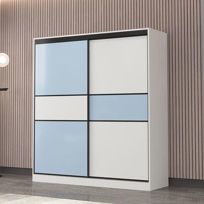 简易衣柜现代简约推拉门家用柜子经济型卧室实木质衣橱柜出租房用