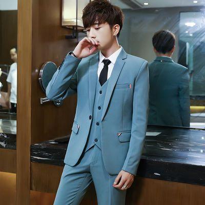 韩版修身西服套装男商务正装新郎结婚西装学生青少年休闲职业装潮