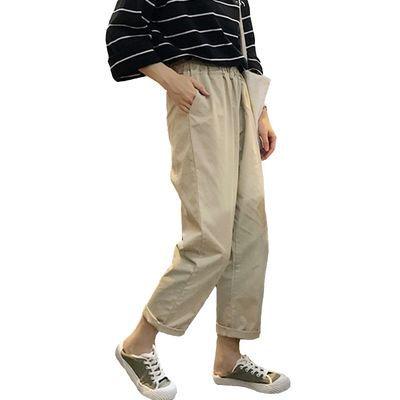 显高修身运动工装裤休闲工装裤女宽松韩版 学生七分新款卡其色