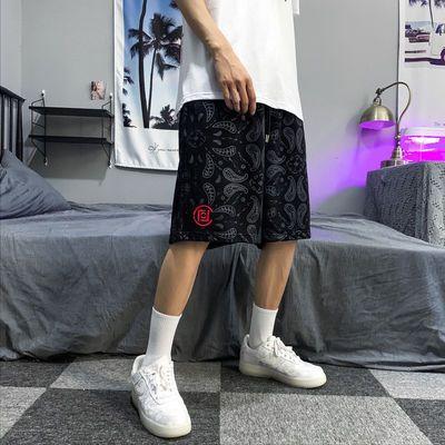 国潮陈冠希同款腰果花暗纹满印刺绣短裤男女情侣休闲篮球运动裤夏