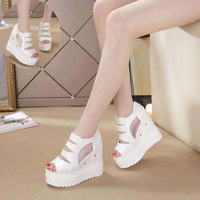 夏季新款松糕底鱼嘴鞋女网纱镂空超高跟厚底凉鞋12cm内增高女凉鞋