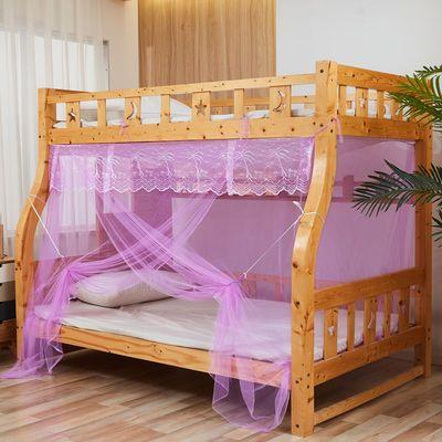 新款子母床蚊帐儿童上下铺梯形高低双层床家用特加密直梯柜梯蚊帐