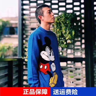 陈冠希同款毛衣男韩版宽松潮流蓝色圆领套头毛衫针织衫 BYEB84A35