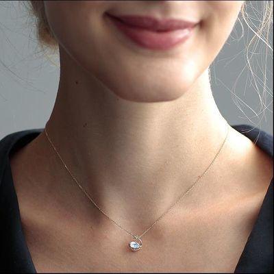 日系轻奢 神秘星月S925银镀18K金天然月光石项链 女式锁骨链