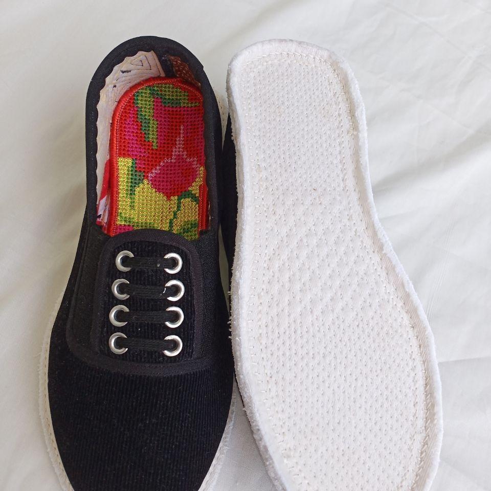 纯手工千层底布鞋 男款灯芯绒透气鱼眼鞋 吸汗透气养脚舒适手工底