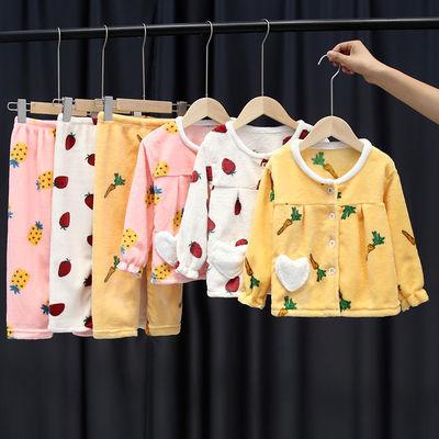 秋冬季儿童加厚法兰绒睡衣套装男童女童珊瑚绒小孩宝宝长袖家居服